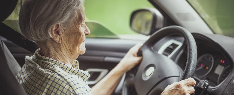 A senior citizen drives a car